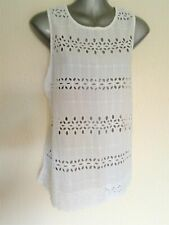 Ladies Womens White Top Round Neck Sleeveless Blouse Size 10