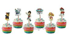 (24) pcs Paw Patrol  Cupcake Toppers Double Sided Birthday Party Supplies
