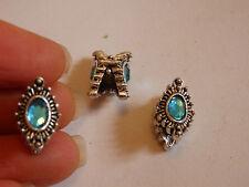 5 charm beads large hole blue antique silver jewelry making bracelet charm UK