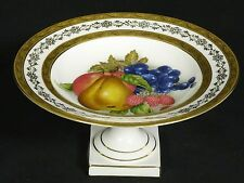 GILDED PORCELAINE ARTISTIQUE F.M LIMOGES FRANCE FRUIT PAINTED TAZZA COMPOTE