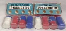 Crisloid TWO Poker Chip Sets Washable Unbreakable Interlocking Chips USA Vintage