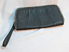 JESSICA SIMPSON Black Pebbled Chain Wristlet Clutch Wallet Purse