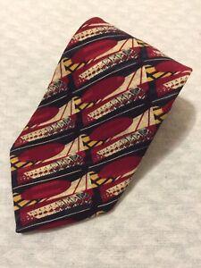 Vtg ROBERT TALBOTT Tie Hand Sewn Finest Silk Made in USA Red White Blue Yellow