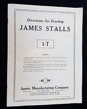 1951 Directions for Erecting James Stalls James Mfg Co Mt Joy Fort Atkinson Farm