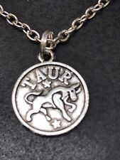 "Zodiac ""Taur"" Taurus the Bull Round Charm Tibetan Silver 18"" Necklace D951"