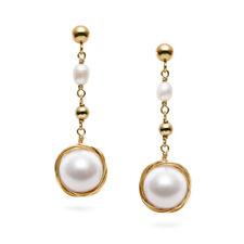 "Earrings 14K Yellow Gold Filled,1.4"" Handmade White 10mm+ Fw Pearl Dangle"