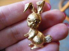18k Heavy Diamond Rabbit Animal Pendant Figural Bunny 3D Yellow Gold Ruby Eyes