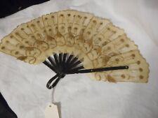 "Vintage Hand Fan Water Buffalo Hide & Sticks Gold Accents 9"" Asian"