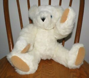 """Vermont Teddy Bear 17"""" Plush Jointed Blue Eyes Cream w/Suede Paws Made in USA"""