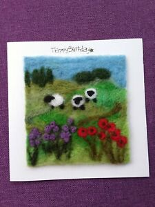 Needle Felted Birthday Card. Sheep And Flowers.