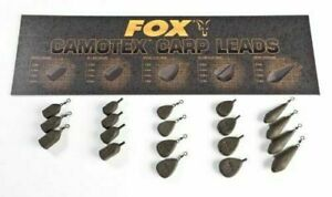 Fox Camotex Carp Fishing Coated Leads Inline & Swivel x5 All Types & Sizes *New*