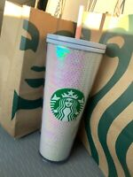 Starbucks 2020 Iridescent White Sequin Holiday Cold Cup Tumbler 24 oz