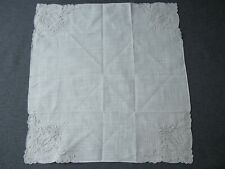 Vintage embroidery flowers & leaves lace cotton hanky 9812h