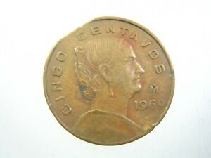 Mexico Mint Error Rim Clipped Planchet 5 Centavos 1969 376# Money Coin