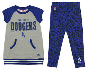 Majestic MLB Little Girls Los Angeles Dodgers Cheer Loud Shirt & Leggings Set