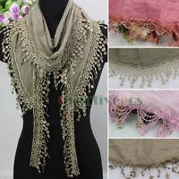 Fashion Womens Lace Tassel Plain Triangle Scarf Shawl Wrap Soft Ladies Scarf New