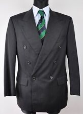 HUGO BOSS Double Breasted Charcoal Blazer 100'S Wool UK 36 Jacket EU 46 Gr Jacke