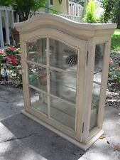 Wall Curio Cabinet Display Case Glass Doors Shelves Mirrored Shabby Chic Decor