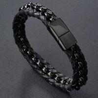 Men's Multilayer Braided Genuine Leather Bracelet Titanium Chain Gun Black