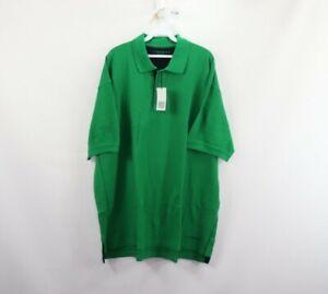 New Charles Tyrwhitt Mens XL Spell Out Short Sleeve Golf Polo Shirt Green Cotton