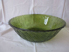 "VINTAGE AVOCADO GREEN  GLASS SERVING BOWL - 9"" WIDE BASKET WEAVE - FREE SHIPPING"