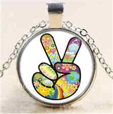 Peace Sign Photo Cabochon Glass Tibet Silver Chain Pendant Necklace