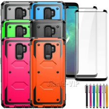For Samsung Galaxy S9 Plus S9+ Hybrid Hard Armor Cover Phone Case Tempered Glass
