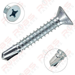 SELF DRILLING SCREWS COUNTERSUNK ZINC PLATED METAL FIXING WINDOWS ROOFING