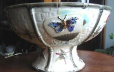 Victorian Era c1870's Fielding English Majolica Pottery Compote Butterfly & Fan