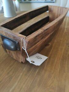 Vintage Oak Whiskey Barrel Stave Basket Storage  Box Crate Bowl