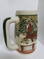 Budweiser Clydesdale Horses on a Covered Bridge Vintage Stein - Limited Edition