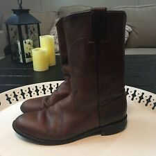 Justin Brown Leather Roper Cowboy Western Boots Womens Size 8 B USA