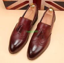 Men's Brogue tassel carving WingTip Dress formal Slip On Oxford Loafers Shoes