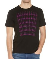 John Varvatos Men's Short Sleeve Rows of Guitars Graphic Crew T-Shirt Black