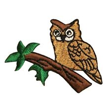 ID 0622 Owl On Branch Patch Nocturnal Bird Sleep Embroidered Iron On Applique