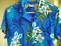 WHITE STAG L HAWAIIAN FLORAL PALM BLUE PURPLE BUTTON DOWN RAYON TOP BLOUSE WOMEN