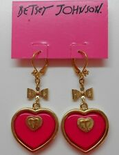 Betsey Johnson Status $55 Hot Pink Enamel Heart & Gold Tone Leverback Earrings