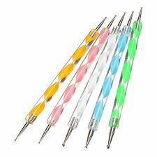 5 x Nail Art Marbleizing Crystal Paint Dotting Pens Tool Set Kit Design 2 Way