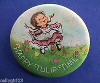 Hallmark BUTTON PIN Easter Vintage HAPPY TULIP TIME CHARMER Holiday Pinback