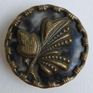 Button Antique - Brass & Celluloid - 31 MM - Celluloid & Brass Button