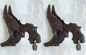 HUGE Antique PAIR French Carved Wood Gothic Chimera Wall Light Sconce Gargoye #1