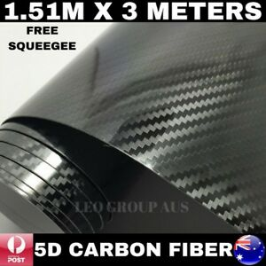 5D BLACK SUPER ULTRA GLOSS CARBON FIBRE FIBER CAR VINYL WRAP FILM 1.51M X 3M