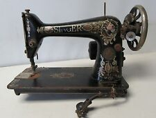 """Electric SINGER SEWING MACHINE MODEL 66 """"RED EYE"""" FOR PARTS/RESTORATION Dirty"""
