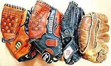 4 VINTAGE BASEBALL GLOVES WILSON,TPS LOUISVILLE,DIAMOND MASTER,THE FLASH.