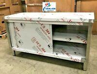 "NEW Commercial Stainless Steel Work Prep Table Cabinet 48"" x 24"" Dual Slide Door"