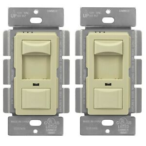 Dimmable CFL Incandescent 3 Way Slider Switch With Backlight Ivory 2 Pack