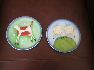 Vintage Pair of St Michaels Kitchen wall plates humourous stylised animals 1990s