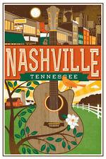 3x4 inch Vintage Art NASHVILLE Tennessee STICKER - tn rv visit city travel music