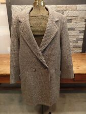 Lands' End 100% Wool Pea Coat Plaid Tweed Thinsulate Lining Women's Size 10 EUC