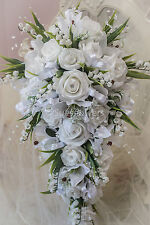 Wedding Flowers  Teardrop bouquet in White Lilly of the Vally and. roses